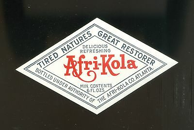 1920s AFRI-KOLA Soda Bottle Label Excellent Condition
