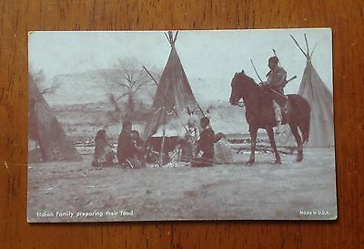 Vintage Mutoscope photo American Indian Family Preparing Their Food