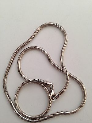 "A pc of Italian sterling silver Round Snake chain necklace, new,14g,16"",2mm"