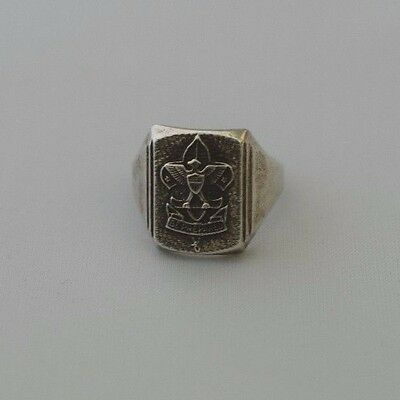 """Vintage Sterling Silver Boy Scouts """"Be Prepared"""" Eagle Shield Ring Size 7"""