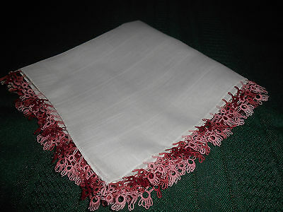 White Cotton Hankie With Ruby Red And Pink Hand Tatted Lace,  Circa1940