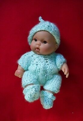 """Doll Clothes mint green Hand knitted romper set fit baby Berenguer 8"""" Gerber 8in"""