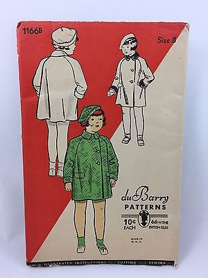 1930s Du Barry sewing pattern Child's size 8 coat and hat beret 1166B