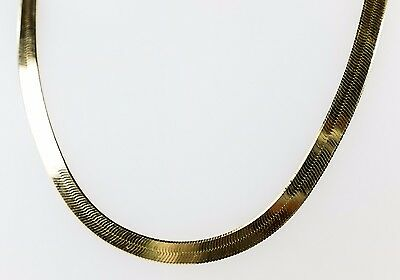 "14K Yellow Gold Unisex 7mm Wide Herringbone Link 24"" Chain Necklace - 29.8 grams"