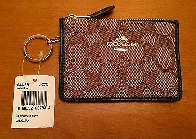 Coach mini ID coin purse w/ keyring - khaki/brown fabric/brown leather - NWT!