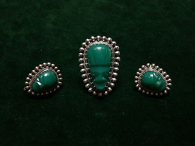 Vintage Mexico Sterling & Carved Green Stone Ring and Earrings