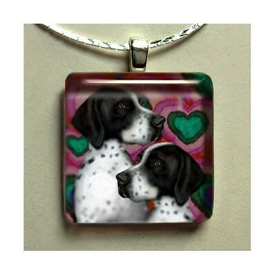 English Pointer Dogs Charm Dangle Art Jewelry Gift Glass Tile Pendant Necklace