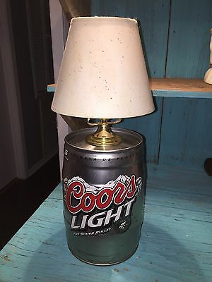 Coors Light Keg lamp With Shade Man cave/bedroom decor ��