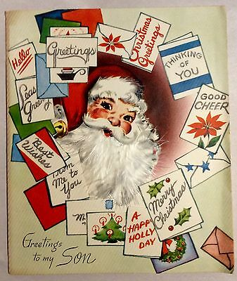 Santa Clause Surrounded by Greeting Cards 1940's Vintage Christmas Greeting Card