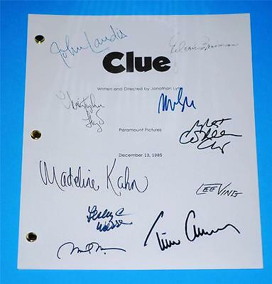 Clue Movie Script Signed John Landis  Tim Curry  Eileen Brennen  Madeline Kahn