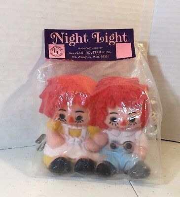 Raggedy Ann Andy Electric Night Light Lamp Collectible childrens room decor New