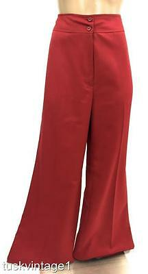 VINTAGE Claret RED 70s HIGH WAISTED wide leg sportswear PANTS 12 14