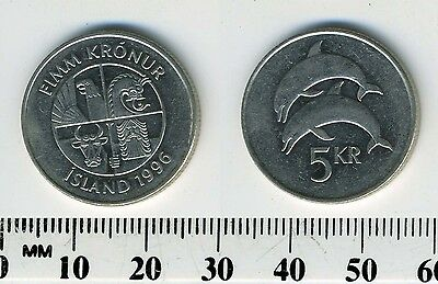 Iceland 1996 - 5 Kronur Nickel Plated Steel Coin - Two dolphins leaping left