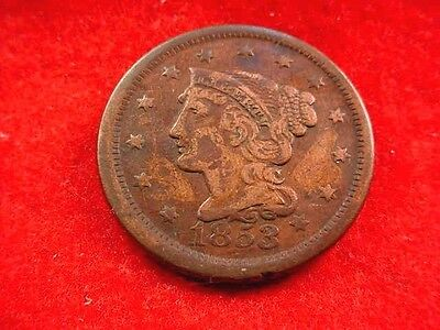 1853 Braided Hair Large Cent Great Brown Coin---Free Shipping!!   #320