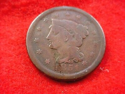 1851 Braided Hair Large Cent Nice Brown Coin---Free Shipping!!   #240