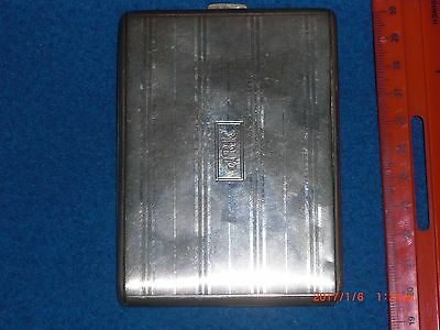 vintage sterling silver cigarette case pinstriped excellent condition