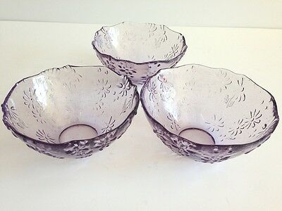3 Purple/ Lavender/ Lilac glass Daisy/ Floral raised Pattern Cereal Bowls
