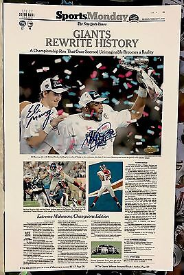 GIANTS MANNING / STRAHAN AUTOGRAPHED SIGNED 11x17 FOOTBALL PHOTO STEINER COA PSA