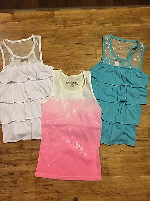 Girls Lot Of 3 Sparkly Tanks Kids Size 7 8