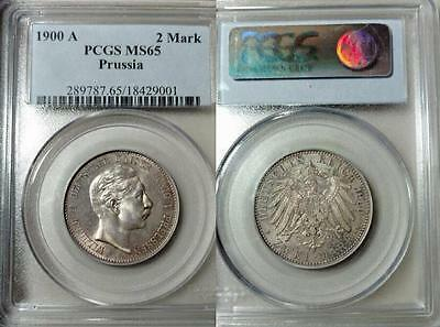 Prussia 2 Mark 1900-A, Nicely Toned Gem Uncirculated PCGS MS 65, TOP POP 2/0