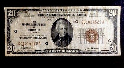 Us 1929 $20 Dollar National Currency Brown Seal Federal Reserve Bank Chicago, Il