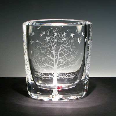 """Enchanting One of A Kind ORREFORS VASE engraved by Ray Lapšys """" TREE of LIFE """""""