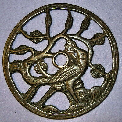 Ancient Chinese Open-work charm coin A magpie on a blossom plum tree for happine