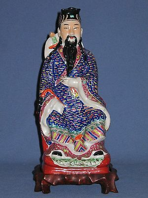 Large Antique Chinese Famille Rose RARE Seated Immortal Statue and Stand c.1880