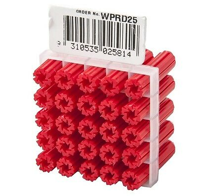 5x Ramset WALL PLUGS 25Pcs Suits 8-9 Gauge Screws RED - 6mmx 25mm, 35mm Or 50mm