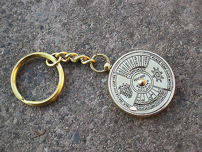Brass working Calendar Key chain Key Ring The Mary Rose maritime antique lot of3