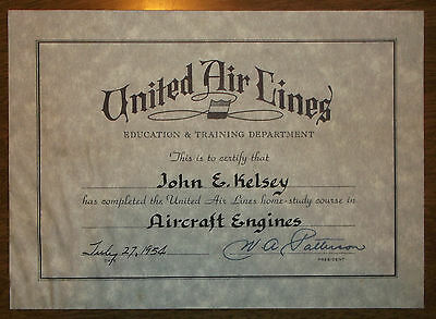 1954 United Airlines Training Course Certificate - President WA Patterson Auto