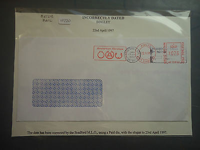 great britain 1997 meter mail incorrectly dated bingley used