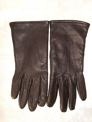 Black Lined  Soft Leather Ladies Gloves Bnwot Medium