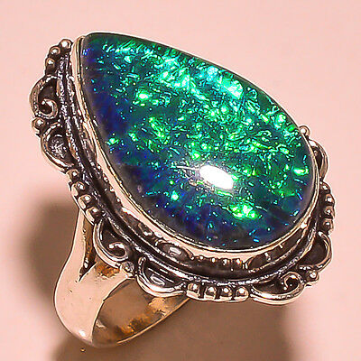 """Magnificent Australian Triplet Opal Vintage Style .925 Sterling Silver Ring 9"""""""