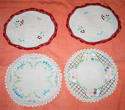 4 Small Vintage Embroidered Floral Doilies