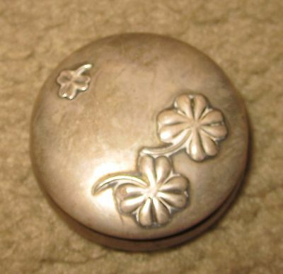 Vintage Frank M Whiting Sterling Silver Pillbox pill box Clovers 2 inch diameter