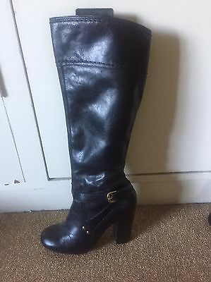 Knee High Also Black Leather Boots, Size 39
