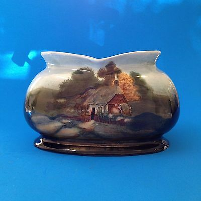 Early 20thC  English Ceramic Vase - Old Rural Thatched Roof Cottage Motif -