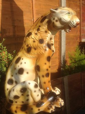 Large Vintage Art Pottery Leopard Figure Hand painted 34cm Tall