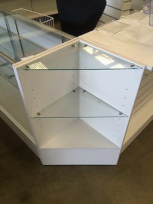 White timber and glass corner display unit BRAND NEW retail shop fittings