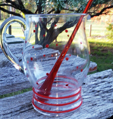 Vintage Retro Water Jug with red spots and orange glass stirrer