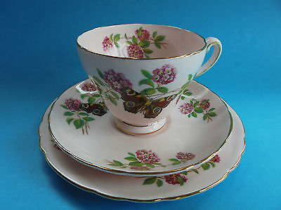 Tuscan June Glory Pink Trio Teacup Saucer Plate Pink Flowers And Butterfly