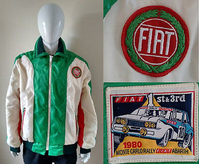 Rare 1980's Fiat Abarth Monte Carol Rally Jacket in Italian Flag Colours Red Whi