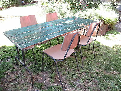 Vintage Hardwood Trestle Table and 4 chairs