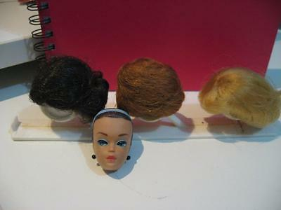 Vintage Barbie Wigs on Stand with Head for fitting-1963 Original-Lot 3