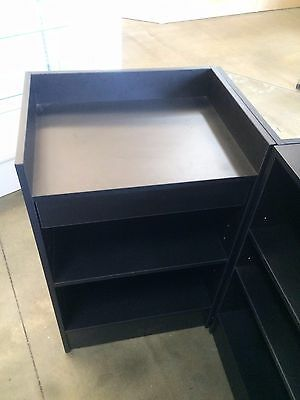 Black cash register counter with drawer to suit slatwall/glass display counter