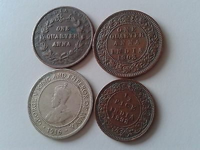 India set of 4 coins 1/4+1/4 anna +1/2 penny Jamaica + 1/2 pice 1835-1916