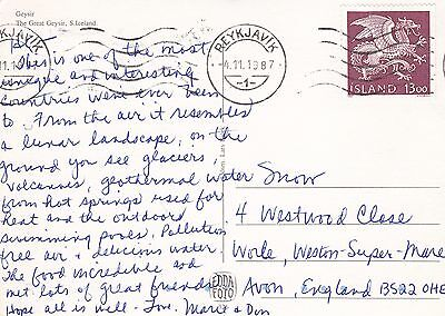 A 725 Iceland 1987 postcard to UK; solo stamp use 13 rate; airmail postcard rate