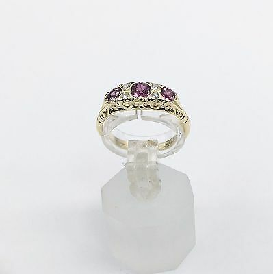 18k Yellow Gold Antique/Vintage 3 Stone Red Ruby & Diamonds Wedding Band Size 6