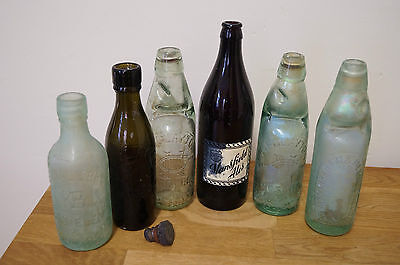6 vintage glass bottles 3 with marble stoppers